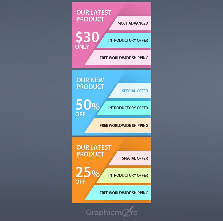 Flat Web Banner Set Design PSD