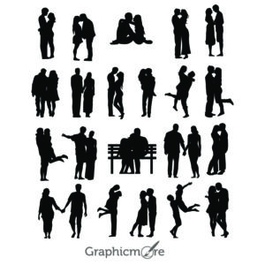 21 Lovers Silhouettes Design Free Vector File