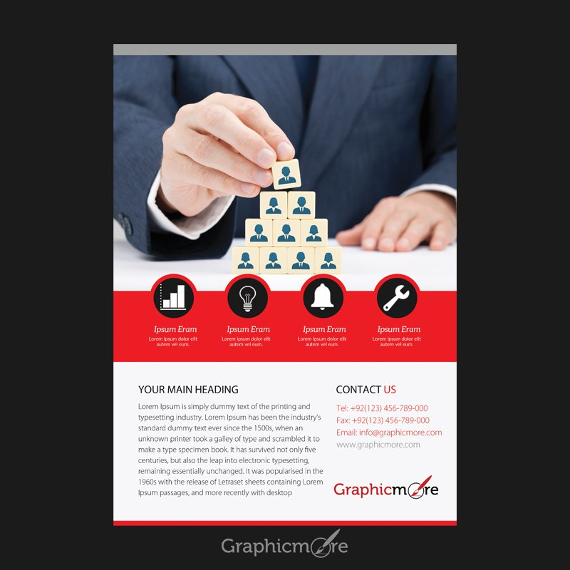 Business Red Flyer Design Free PSD File