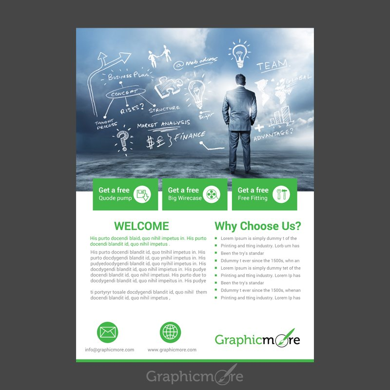 Corporate Green Flyer Design Free PSD File