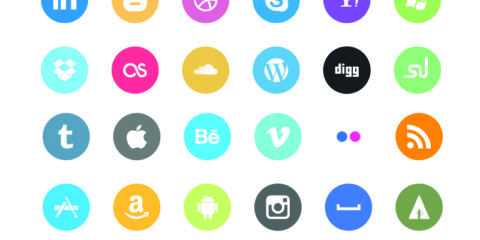 Flat Social Media Rounded Icons Design Free Vector File