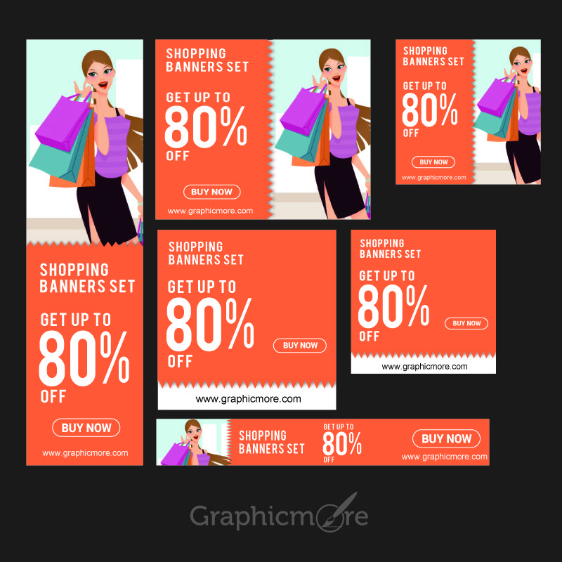 Shopping Banners Set Design Free Vector File