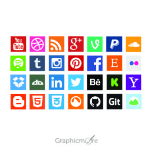 Social Media Flat Icons Set Design Free Vector File