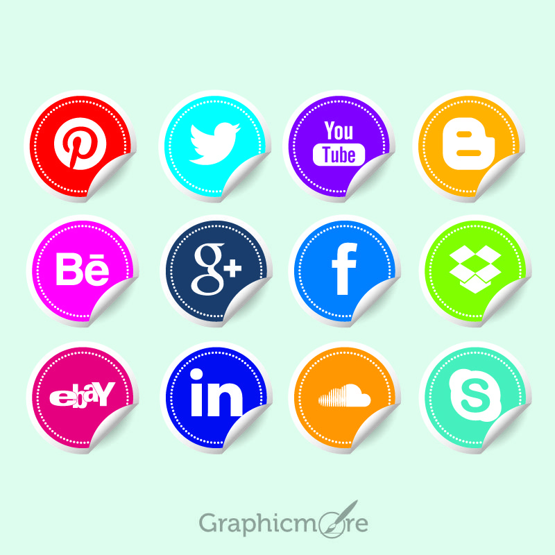 Social Media Icon Stickers Free Vector File