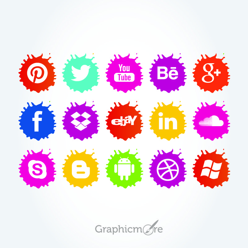 Social Media Paint Spaltter Icons Set Free Vector File