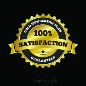 100% Satisfaction Label Badge Design Free Vector Download