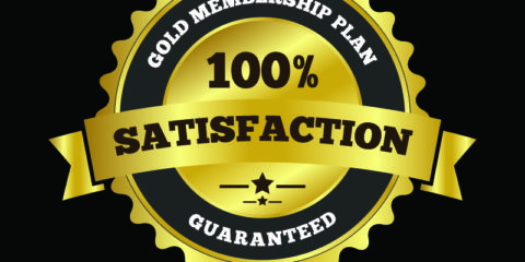 100% Satisfaction Label Badge Design Free Vector Download