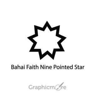 Bahai Faith Nine Pointed Star Symbol Design Free Vector File