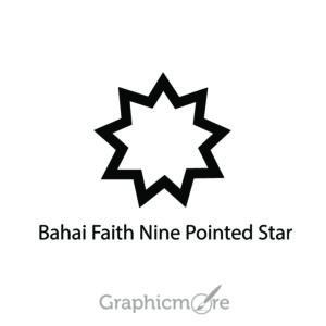 Bahai Faith Nine Pointed Star Symbol Design Free Vector File