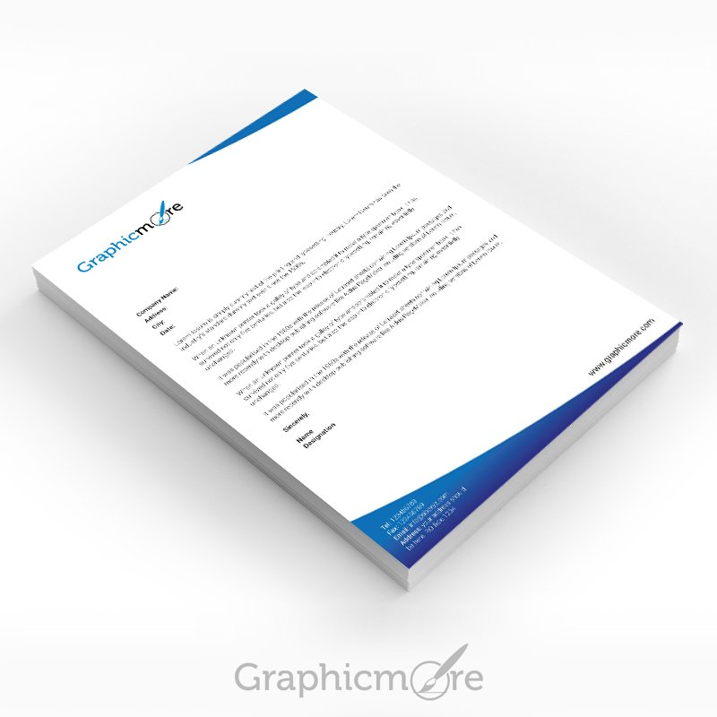 Blue Corporate Letterhead Design Free PSD File
