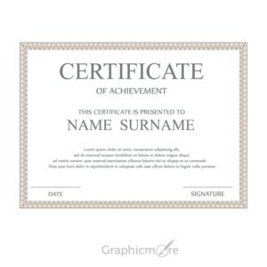 Brown Decoration Border Certificate Template Design Free Vector File