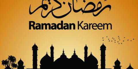 Brown Ramadan Kareem Banner with a Mosque