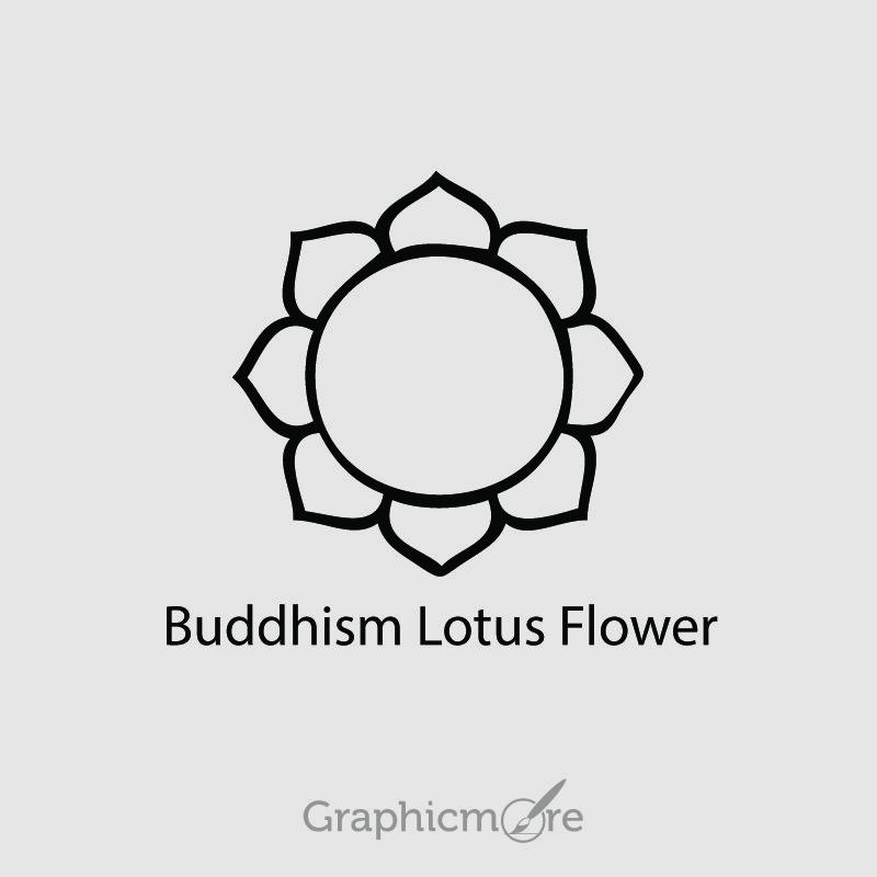 Buddhism Lotus Flower Symbol Design Free Vector File Download
