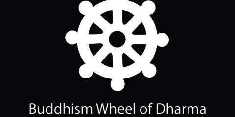Buddhism Wheel of Dharma Symbol Design Free Vector File