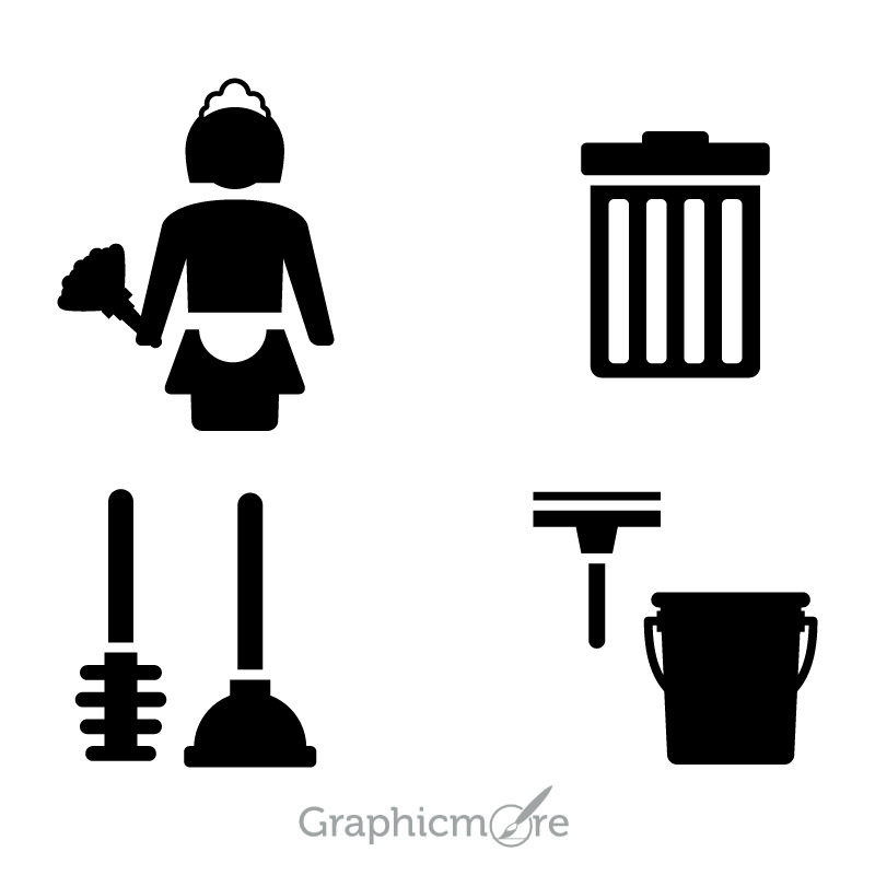 Cleaning Vector Icons Design Free Vector File