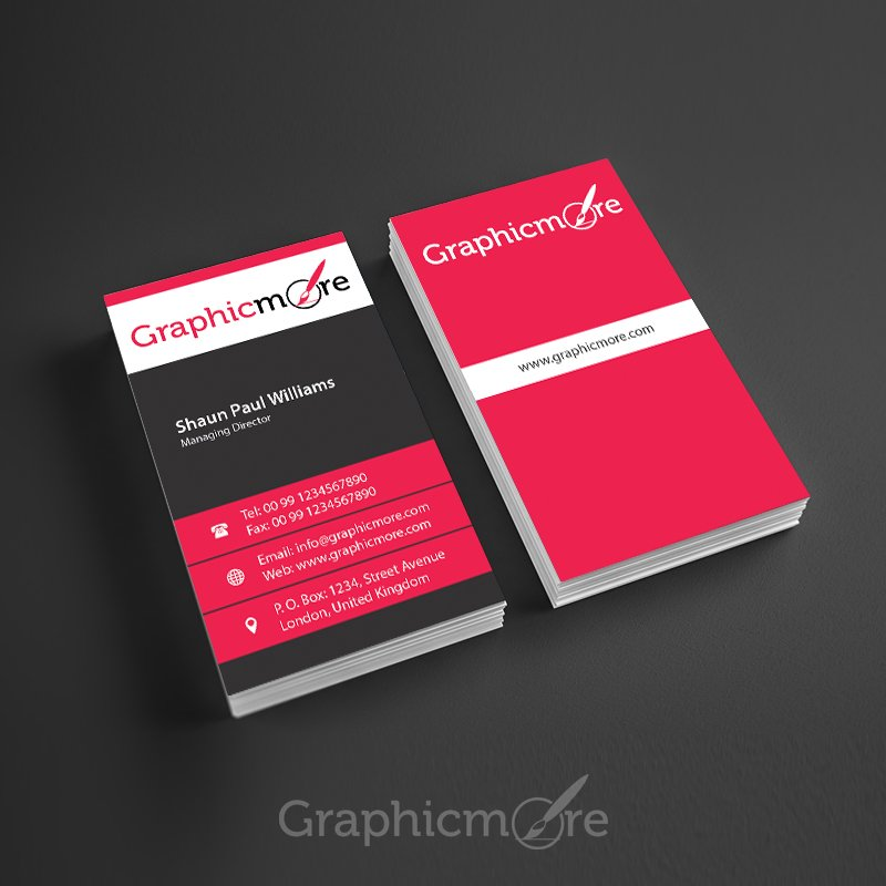 Corporate Vertical Business Card Design Free PSD File