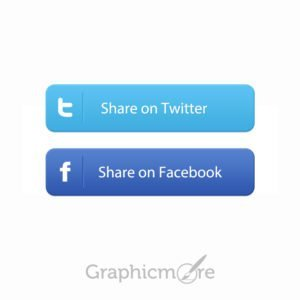 Facebook & Twitter Social Share Buttons Free PSD File