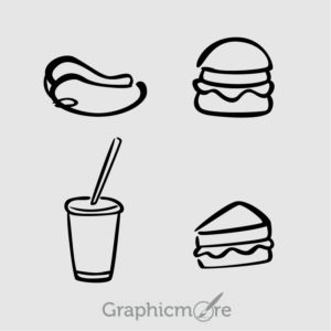 Food Black Outline Icons Set Free Vector File