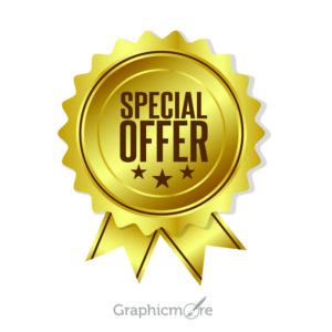 Gold Special Offer Badge Design Free Vector File