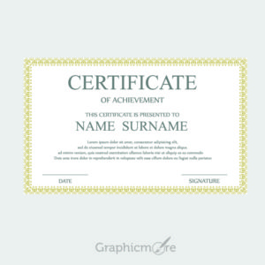 Golden Border Certificate Template Design Free Vector File