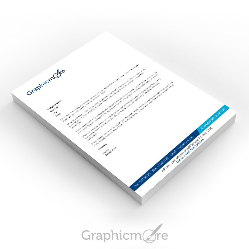 GraphicMore Navy Blue Letterhead Design Free PSD File