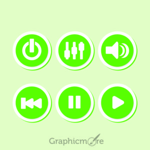 Green Media Player Controls Free Vector File