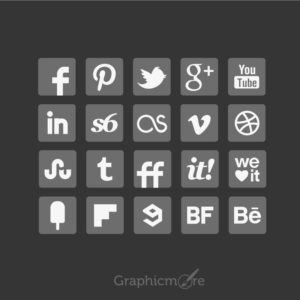 Grey Social Media Icons Set Design Free Vector File