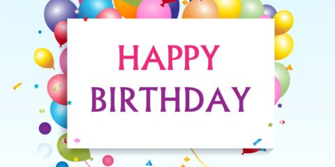 Happy-Birthday Greeting Card & Colorful Balloons Free Vector File