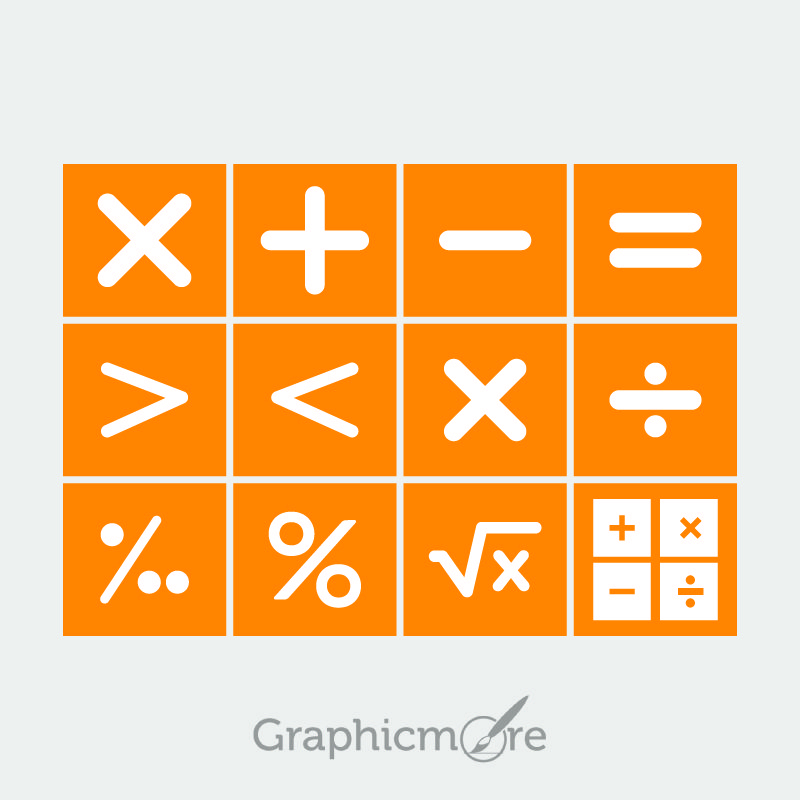 Math Symbols Set Design Free Vector File by GraphicMore