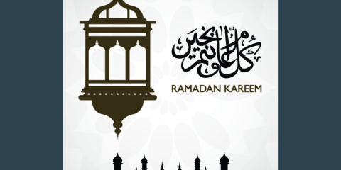 Ramadan Kareem Gray & Brown Poster Design Free Vector File by GraphicMore