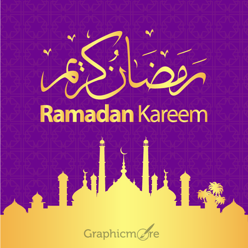 Ramadan Kareem Purple Banner with Golden Details Free Vector