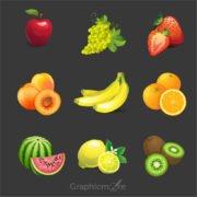 Realistic Fruits Design Free Vector File