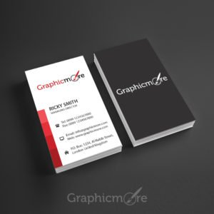 Red Lines Vertical Business Card Template Design