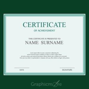 Simple Green Border Certificate Design Template Free Vector File