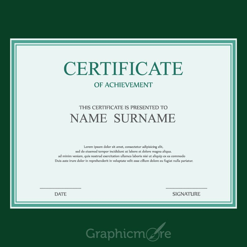 simple green border certificate design template free