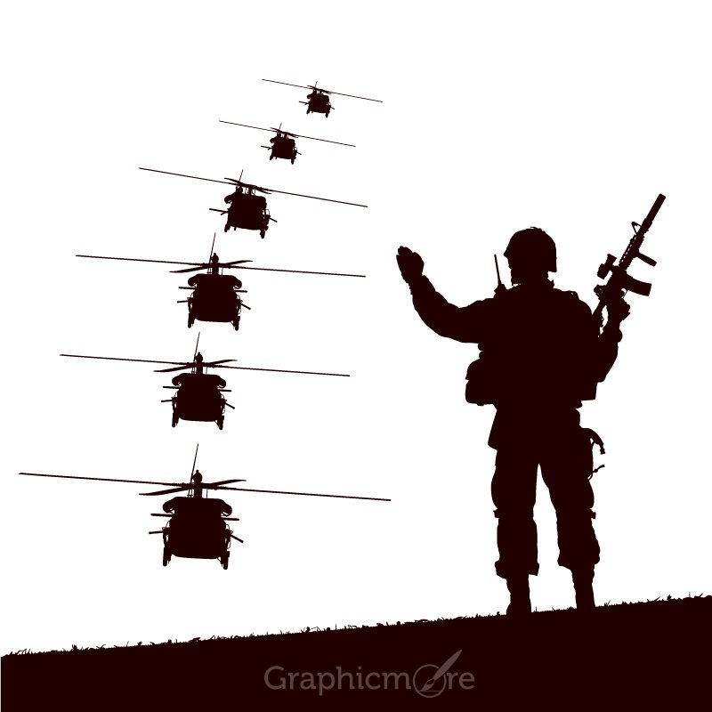 Soldier & Helicopters Silhouettes Free Vector File