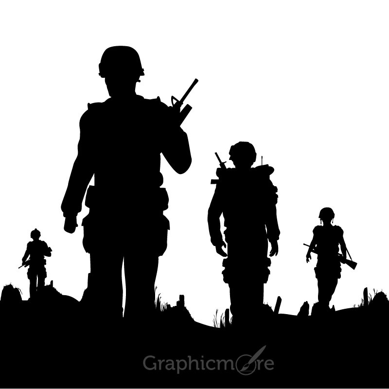 Soldiers Silhouettes Vector Set Design