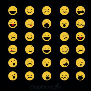 Top 30 Funny Emoticons Icons Vector Set Design