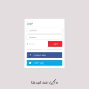 Login With Facebook Twitter Free PSD
