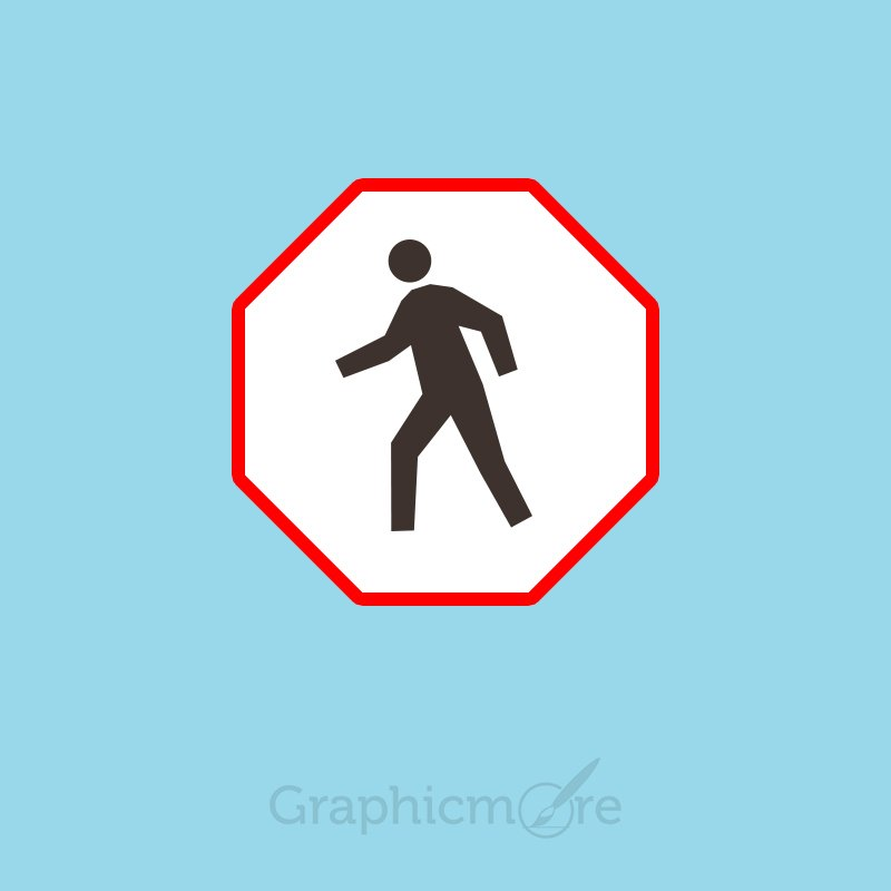 Pedestrian Crossing Sign Board Free PSD Template