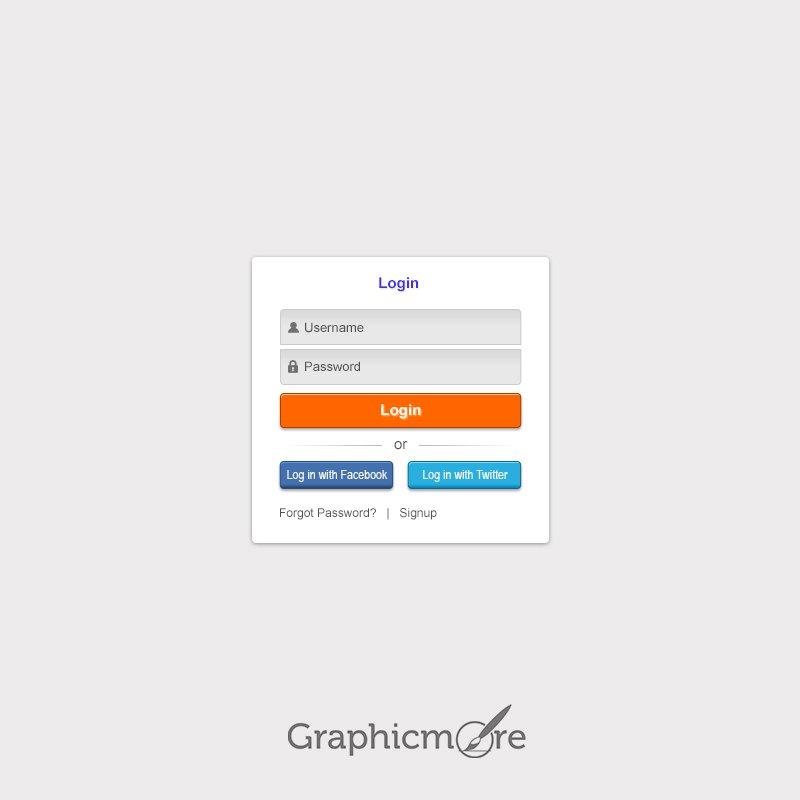 Social Login Form Free PSD File