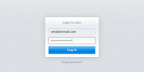 Wrong Password Login Form Free PSD File