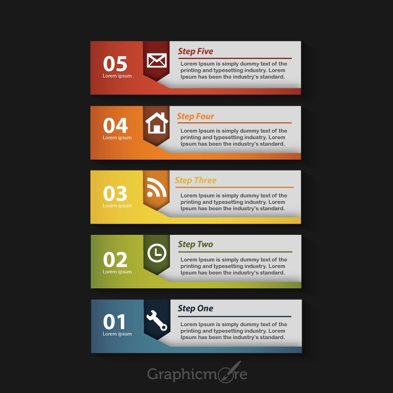 5 Steps Infographic & Horizontal Banners Free Vector File