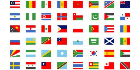 64 Simple National Flag Icons Set Design Free PSD File