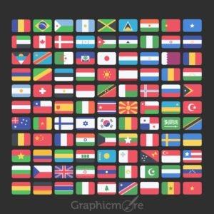 99 National Flag Icons Set Design Free PSD File