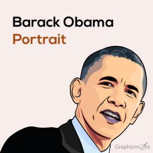 Barack Obama Portrait Free Vector File