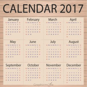 Calendar 2017 Template Design Paper on Wooden Background Free Vector File