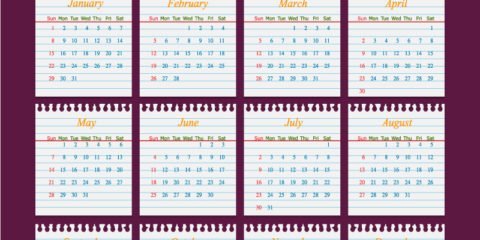Calendar 2017 Template Design on School Paper Free Vector File