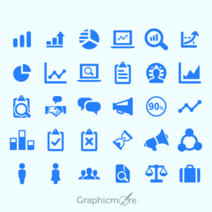 Chart & Analytical Business Icons Set Design