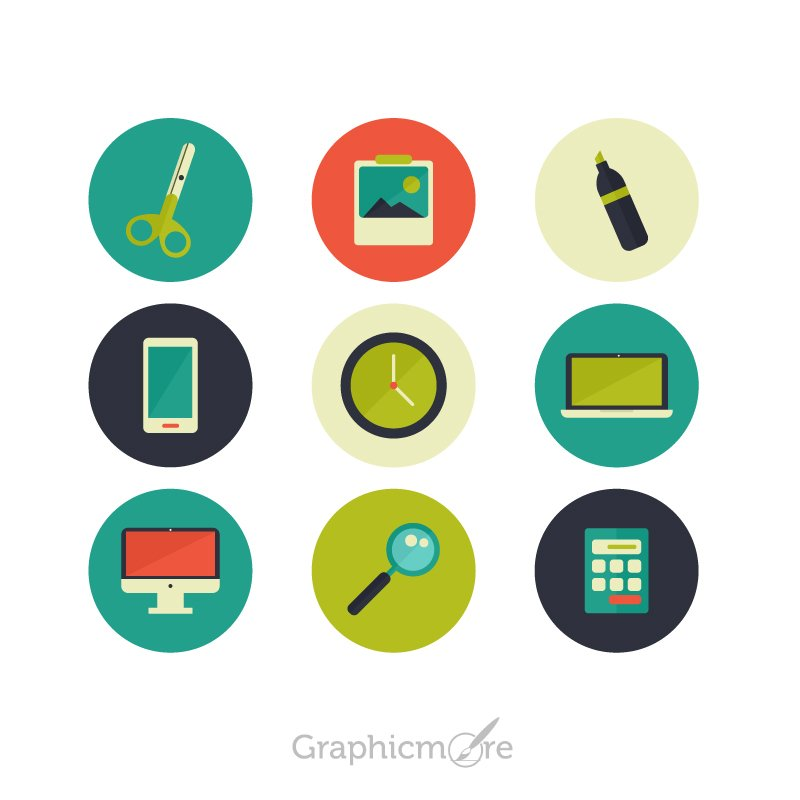 Colorful Icons Set Design Free Vector File
